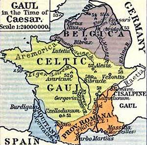 Map of Gaul in the Time of Caesar