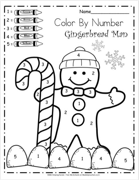 Free Kindergarten Math Worksheets for Winter - Color By