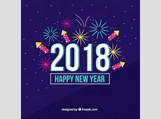 Fondo de año nuevo 2018 con fuegos artificiales