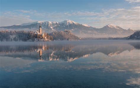 photographed lake bled   fairytale winter morning