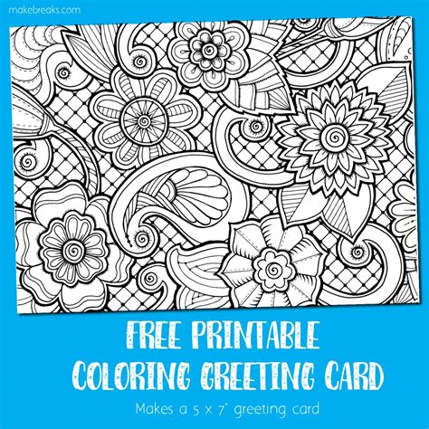 Free Coloring Cards by Coloring Card Greeting Card To Color Make Breaks