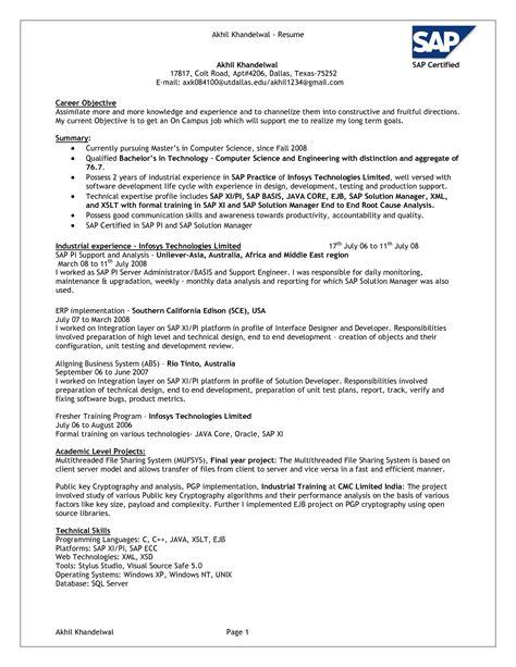 Sap Resume by Sap Sd Abap Resume Better Opinion Baseball Resume
