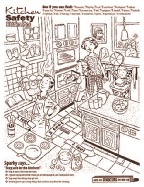 kitchen safety hidden pics worksheet  kindergarten