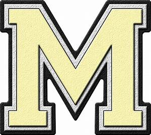presentation alphabets cream varsity letter m With varsity letter m
