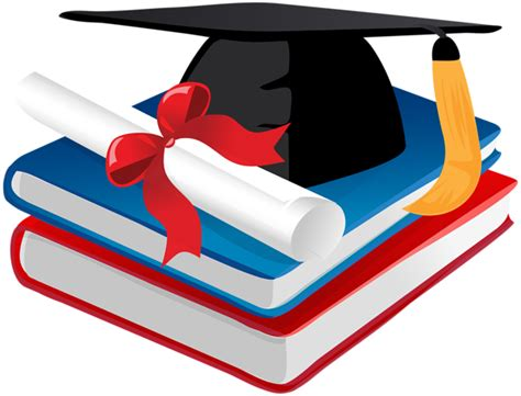 Graduation Cap Books And Diploma Png Clip Art
