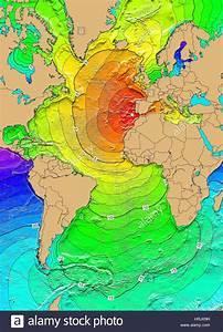 Tsunami Map  Great Lisbon Earthquake  1755 Stock Photo