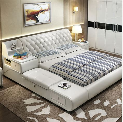 post modern real genuine leather bed soft bed bed