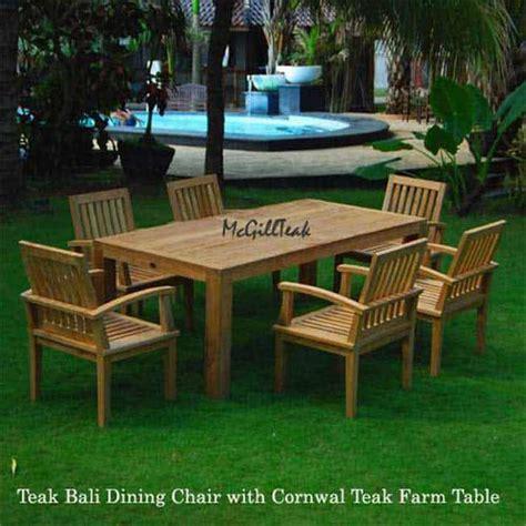 pc teak patio farm table  arm chair cornwal