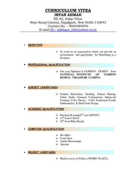 Types Of Resumes by Type Cv Starterre Isuzu