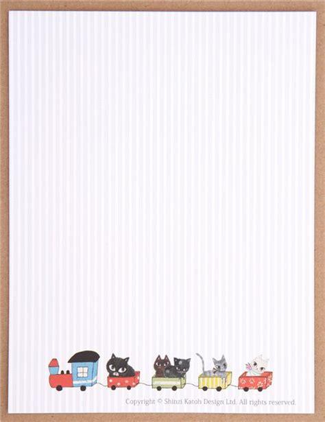 stripe cat shinzi katoh letter paper set japan modesu