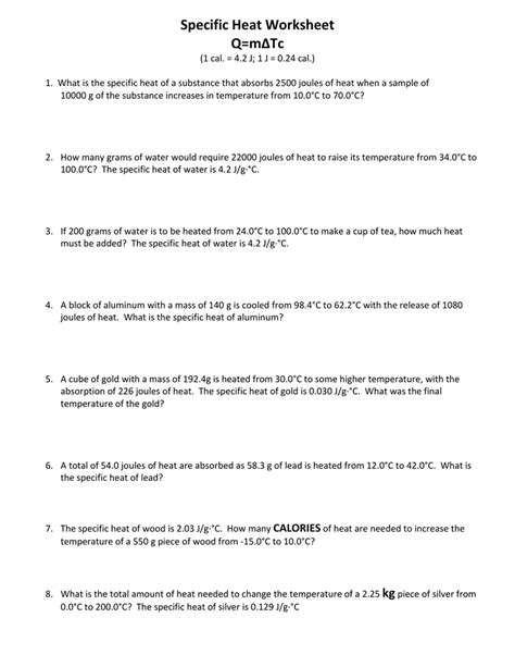Heat Worksheet #2757464  Worksheets Library