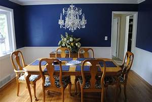 Dining Room Navy Blue Walls With A Chair Rail And White