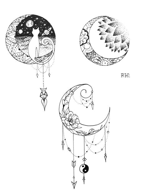 Ink and Paper Moon Designs | Bullet Journal | Tattoos, Tattoo designs, Moon tattoo designs