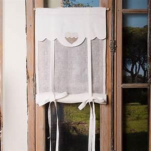 Store En Lin : stores store lin blanc coeur romantique ~ Edinachiropracticcenter.com Idées de Décoration