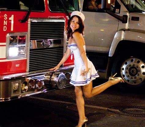 Sailor Girl Posing On Firetruck For Her Boyfriend