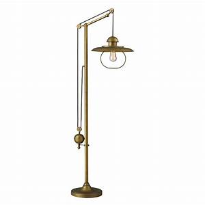 Titan lighting farmhouse 69 in antique brass floor lamp for Lampshade antique floor lamp