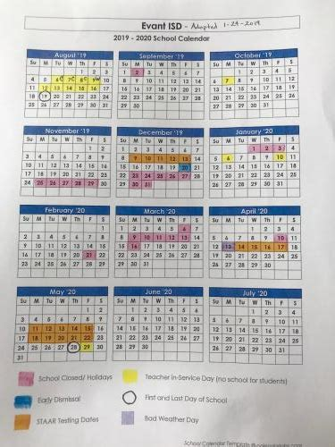 evant independent school district calendar
