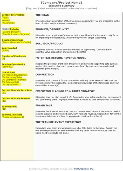executive summary template executive summary template