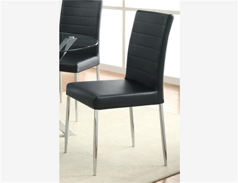 4 pc dining side chairs black leather seat chrome legs