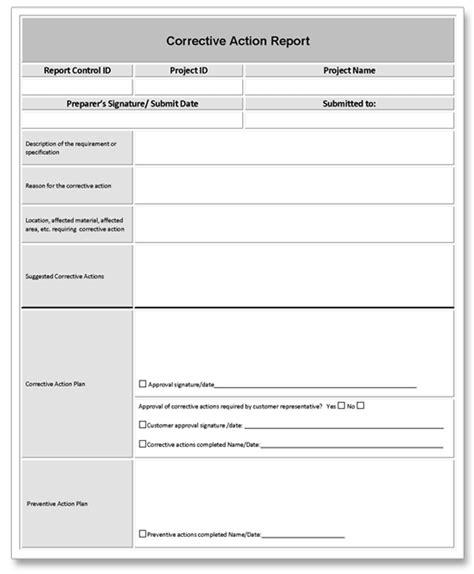 corrective plan template corrective report exle