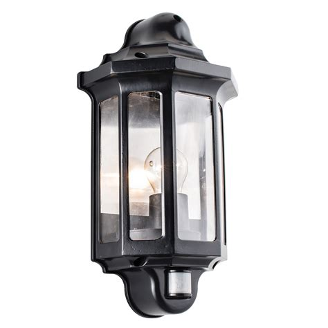 endon traditional pir half lantern outdoor porch wall light ip44 60w black pc liminaires