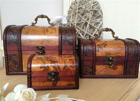 wooden colonial style trunk treasure chest vintage