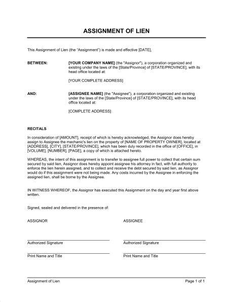 assignment  lien template word   business