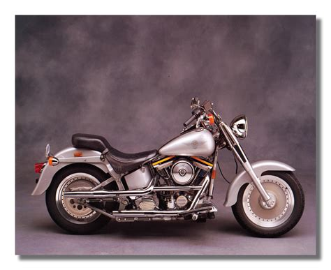 Harley Davidson Fat Boy Motorcycle Wall Picture Art Print