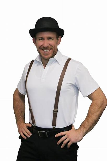 Suspenders Braces Brown Leather