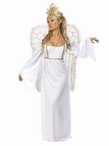 Adult Ladies Deluxe Angel Costume +Wings Womens Christmas ...