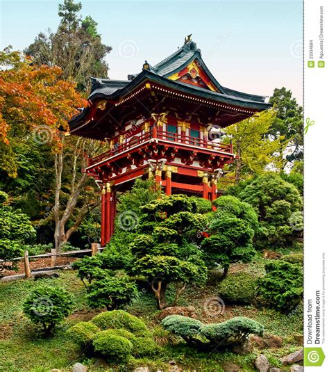 pagoda in the japanese tea garden stock photo image