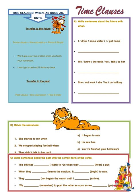 time clauses worksheet