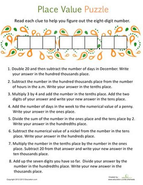 worksheets place value puzzle 3 hundred thousands