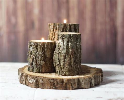 rustic log candle holder rustic home decor wood