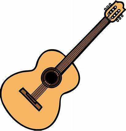 Guitar Clipart Acoustic Drawing Simple Classical Instrument