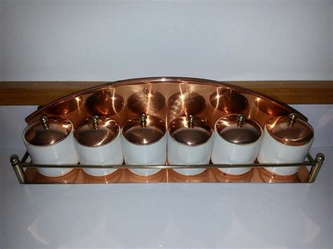 copper spice rack vintage copper spice rack with porcelain containers port