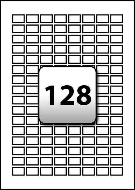 128 Rectangle Labels per A4 sheet 18 mm x 12 mm - Flexi Labels