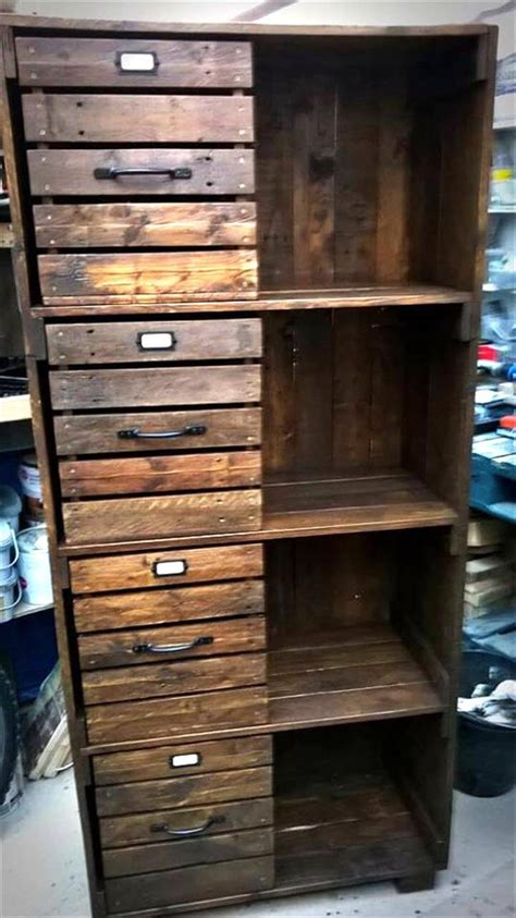 pallet chest  drawers bookcase cabinet  pallets