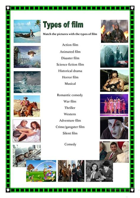 types  films worksheet  esl printable worksheets