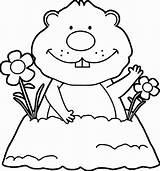Groundhog Coloring Pages Hog Printable Ground Happy Getcolorings Getdrawings Colorings sketch template