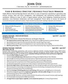 food sales manager resume food beverage manager resume exle restaurant bar