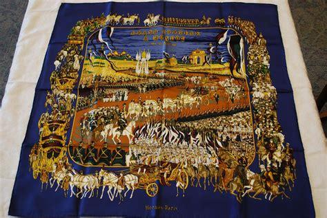 hermes scarf french silk twill grand cortege blue