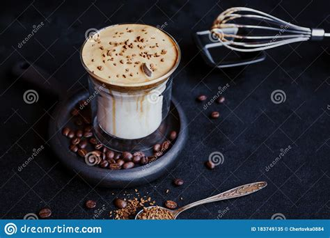 Have you been bit by the tiktok bug? Dalgona Coffee, A Trendy Cool Fluffy Creamy Whipped Coffee. Stock Image - Image of dark, creamy ...