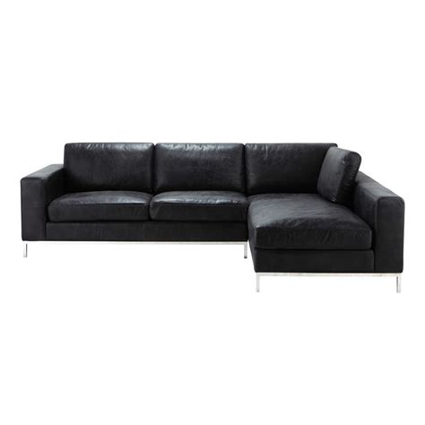 canapé d angle vintage canapé d 39 angle vintage 4 places en cuir noir