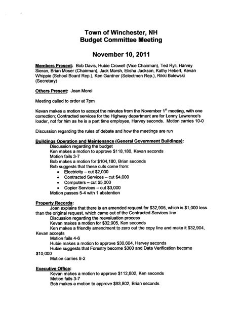 Winchester Informer Budget Committee Meeting Minutes 111011