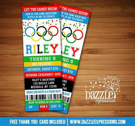 printable olympic games ticket birthday invitation kids