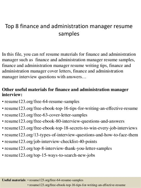 top 8 finance and administration manager resume sles