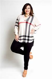 Jessica Kane Plus Size Plaid Top - Ivory (Sizes 16 - 22) # ...