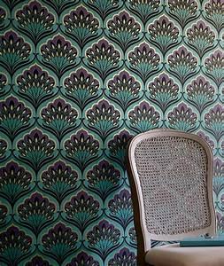 Papier Peint Bleu Foncé : papier peint perdula bleu turquoise violet fonc beige vert noir papier peint des ann es 70 ~ Melissatoandfro.com Idées de Décoration