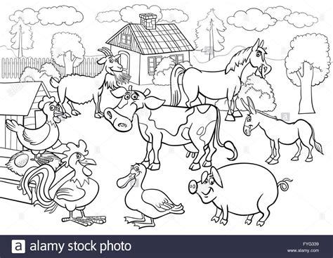 gli animali della fattoria cartoon  libro da colorare